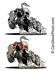caminhão, semi, caricatura