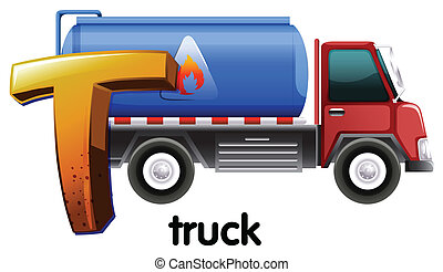 caminhão, t, letra
