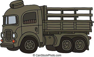 caminhão velho, engraçado, cáqui, militar