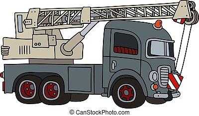 caminhão velho, engraçado, cinzento, guindaste