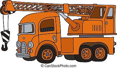 caminhão velho, engraçado, guindaste, laranja