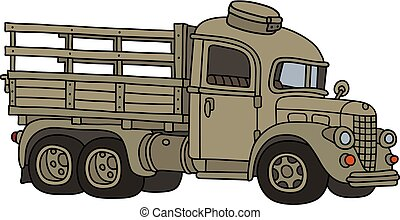 caminhão velho, engraçado, militar, areia