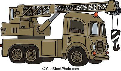 caminhão velho, engraçado, militar, guindaste