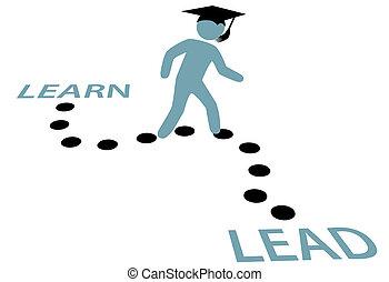 caminho, educação, graduação, liderar, aprender