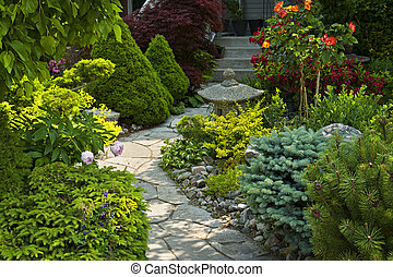 caminho, jardim pedra, ajardinar