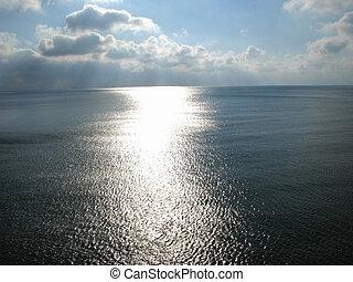 caminho, mar, luz solar, superfície