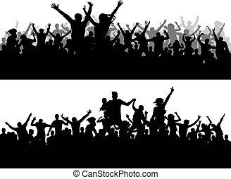 campeonato, concerto, torcida, pessoas, fans., esportes, grande, vetorial, partido, silhouette.