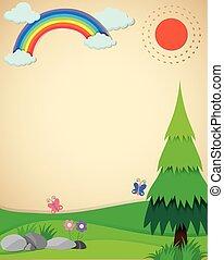 campo, arco íris, cena, natureza