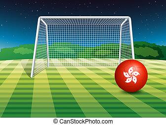campo, bandeira, bola, futebol, hongkong