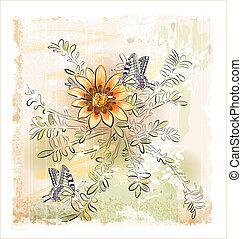 campo, borboletas, flores, amarela