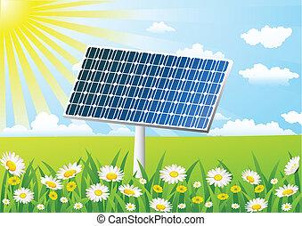 campo, célula, capim, solar