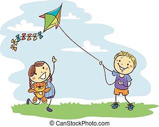 campo, crianças, tocando, papagaio