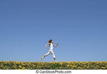 campo, executando, feliz, menina, dandelion