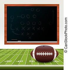 campo, futebol americano, chalkboard