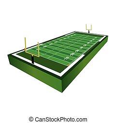 campo, futebol americano, ilustração, 3d