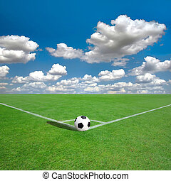 campo futebol americano, marcas, canto, branca, (soccer)