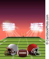 campo, futebol americano, pôr do sol