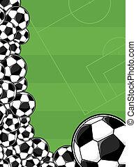 campo, futebol, tocando, fundo