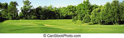 campo, golfe, panorama