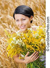 campo, menina, flores, cima fim