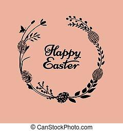 campo, páscoa feliz, ervas, grinalda, prado, mão, herbário, cartão, botânico, desenhado, ramos, eggs., silhouettes., flores, ramos, vetorial, feito