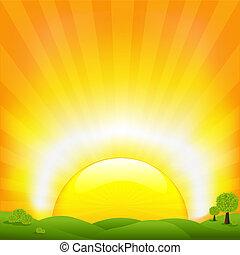 campo, pôr do sol