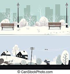 campo, parque, inverno, nevado, casas, paisagem, bancos