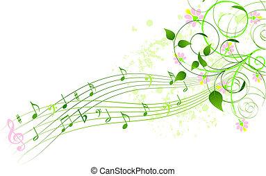 canção, primavera, fundo