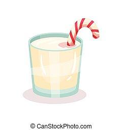 cana, bebida, ilustração, natal, vetorial, doce, fundo, branca, leite