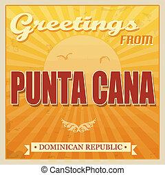 cana, punta, dominicano, touristic, cartaz, república