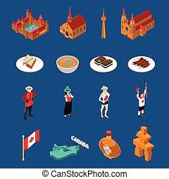 canadá, touristic, jogo, ícones