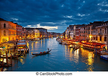 canal, veneza, noturna, grandioso