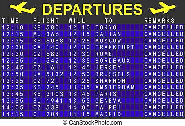 cancelado, vôos, tábua