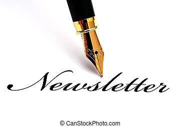 caneta, newsletter, chafariz