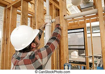 cano, trabalhador, construção, conectando
