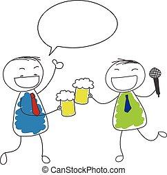 cante, cerveja, bebida, dois, homem negócios