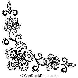 canto, flowers., bla, renda, ornamental