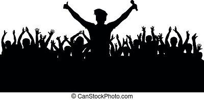 cantor, silueta, torcida, concerto, musical, microfone