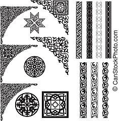 cantos, árabe, ornamento, divisor