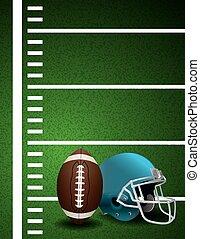 capacete, bola, campo futebol americano, americano, fundo