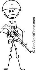 capacete, colete, exército, modernos, ilustração, soldado, vetorial, camuflagem, rifle, armado, caricatura