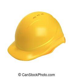 capacete, difícil, -, ilustração, realístico, segurança, chapéu