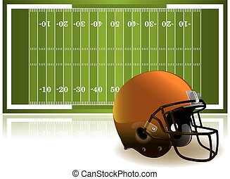 capacete, futebol americano, ilustração, campo