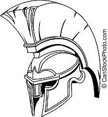 capacete, ou, trojan, spartan, grego, ilustração, romana, gladiador