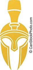 capacete, spartan, ou, trojan, ícone