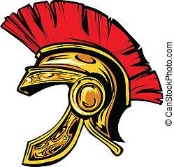 capacete, trojan, spartan, vetorial, mascote
