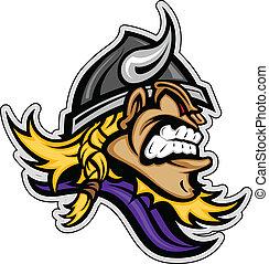 capacete viking, cabeça, imagem, horned, vetorial, caricatura, mascote