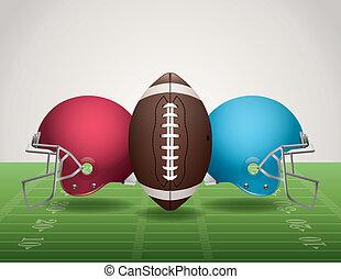 capacetes, bola futebol americano americana, campo