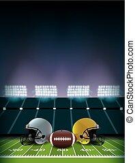 capacetes, bola, futebol, ilustração, campo, americano, estádio