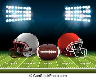 capacetes, bola, futebol, ilustração, campo, americano